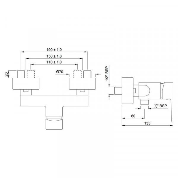 Смеситель для душа Jaquar Kubix Prime KUP-CHR-35149PM