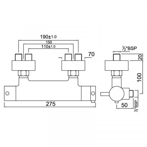 Смеситель для душа с термостатом Jaquar Florentine FLR-CHR-5655