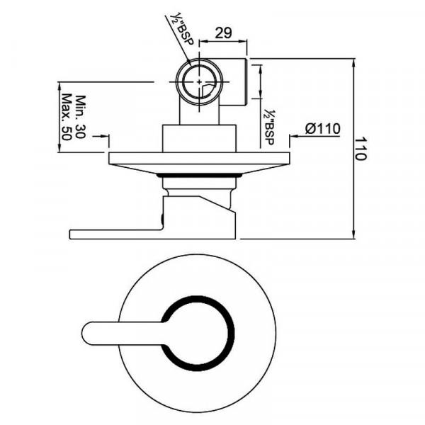 Смеситель для душа скрытого монтажа Jaquar Fusion FUS-CHR-29227