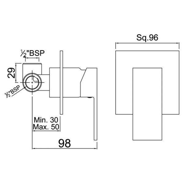 Смеситель для душа скрытого монтажа Jaquar Kubix F KUB-CHR-35227F
