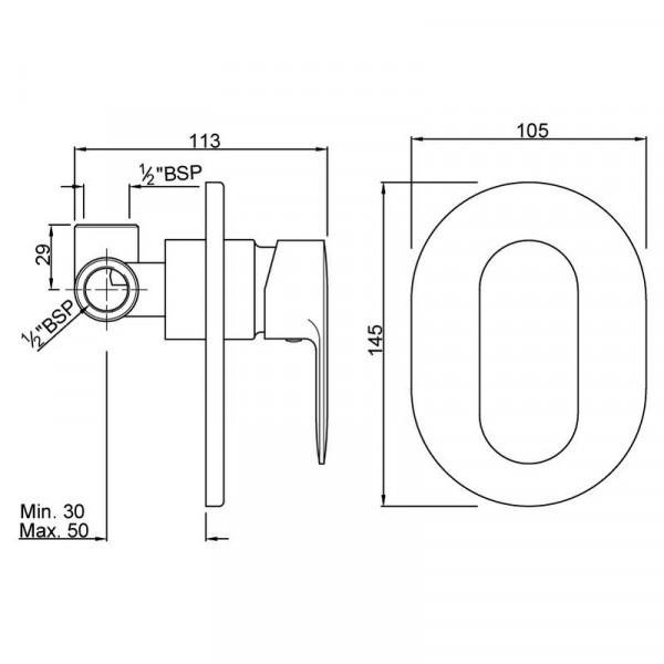 Смеситель для душа скрытого монтажа Jaquar Opal Prime OPP-CHR-15227PM