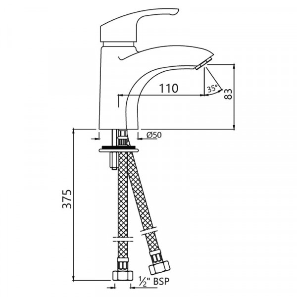 Смеситель для раковины Jaquar Eko EKO-CHR-33023B
