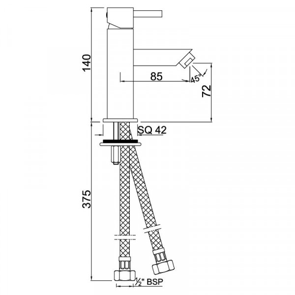 Смеситель для раковины Jaquar Kubix F KUB-CHR-35025B