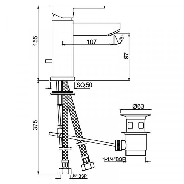 Смеситель для раковины Jaquar Kubix F KUB-CHR-35052FB