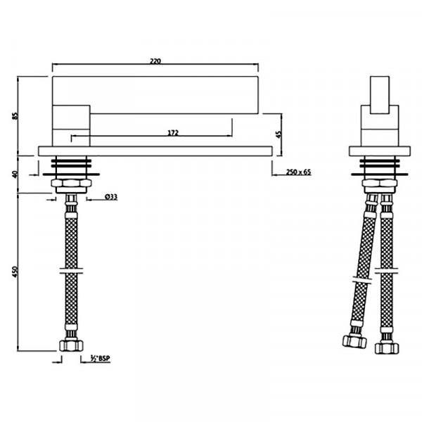 Смеситель для раковины Jaquar Linea LIN-CHR-71011B