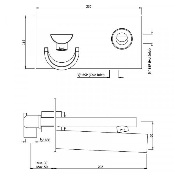 Смеситель для раковины скрытого монтажа Jaquar Confluence Artize CNF-CHR-69233
