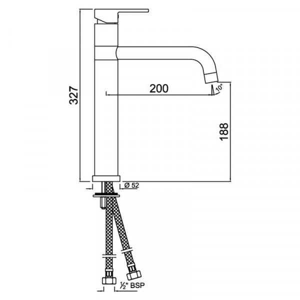Смеситель для раковины высокий Jaquar Fusion FUS-CHR-29009B