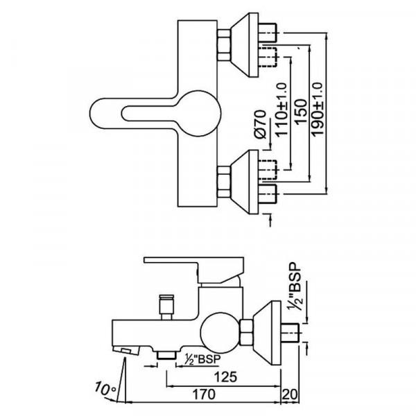 Смеситель для ванны Jaquar Fusion FUS-CHR-29119