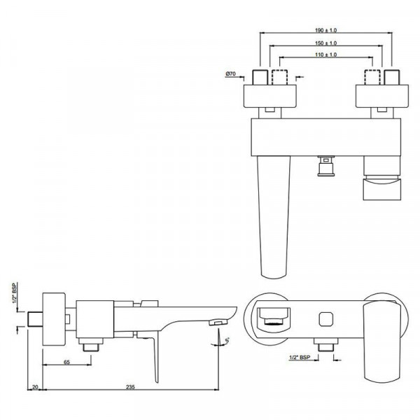 Смеситель для ванны Jaquar Kubix Prime KUP-CHR-35119PM