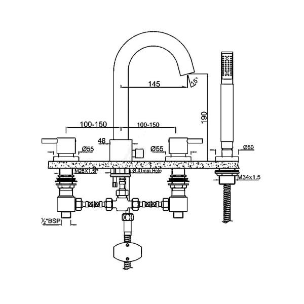 Смеситель для ванны на 4 отверстия Jaquar Florentine FLR-CHR-5277N