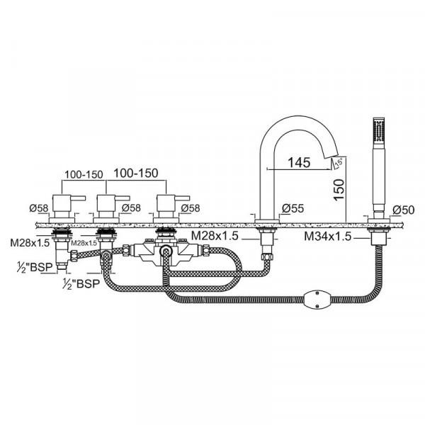 Смеситель для ванны на 5 отверстия Jaquar Florentine FLR-CHR-5277A