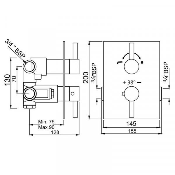 Смеситель для ванны скрытого монтажа с термостатом Jaquar Florentine FLR-CHR-5671