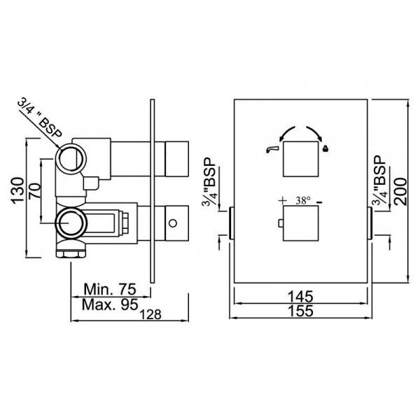 Смеситель для ванны скрытого монтажа с термостатом Jaquar Kubix F KUB-CHR-35671F