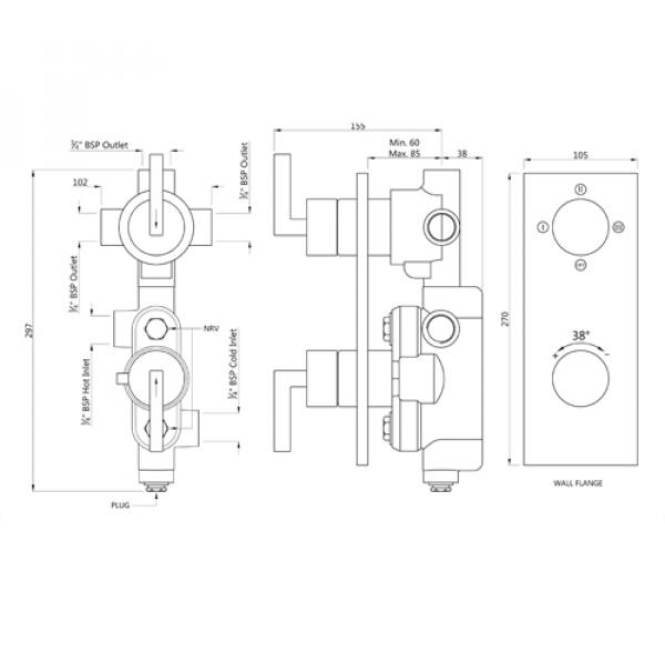 Термостат скрытого монтажа на 3 потребителя Jaquar Linea LIN-CHR-71683N