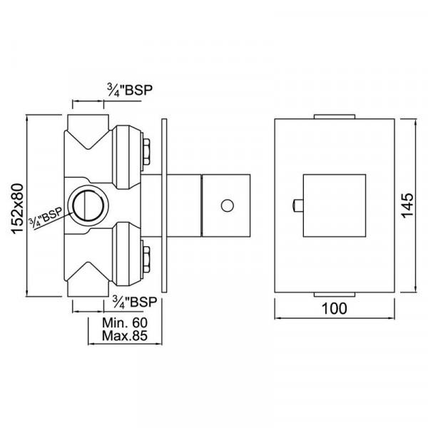 Центральный термостат Jaquar Kubix KUB-CHR-35679
