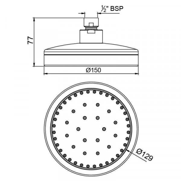 Верхний душ круглый 150 мм Jaquar OHS-CHR-1801