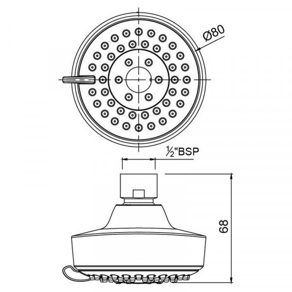 Верхний душ круглый 80 мм Jaquar OHS-CHR-1995