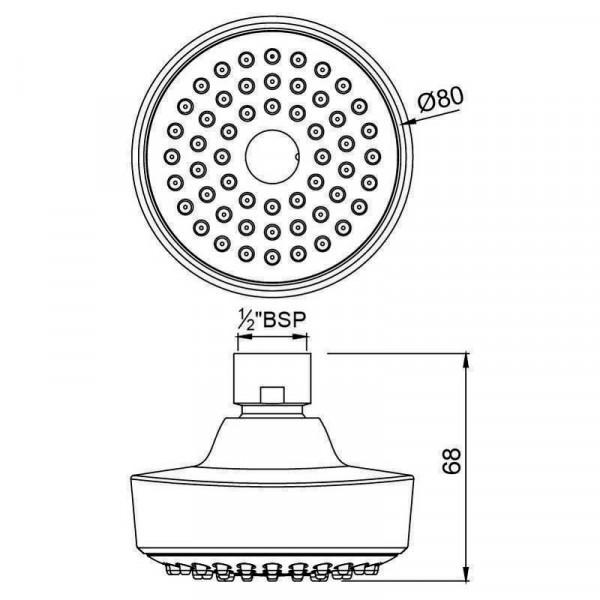 Верхний душ круглый 80 мм Jaquar OHS-CHR-1985