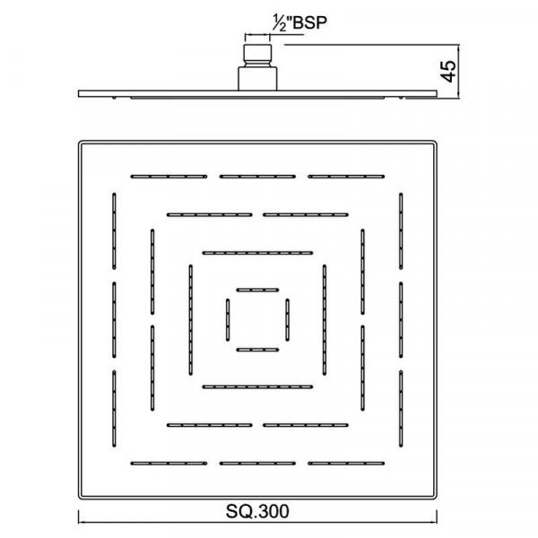 Верхний душ квадратный 300 мм Jaquar Maze OHS-CHR-1639