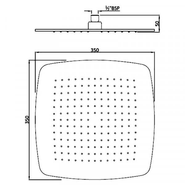 Верхний душ квадратный 350х350 мм Jaquar Rainjoy Artize OSA-CHR-70049