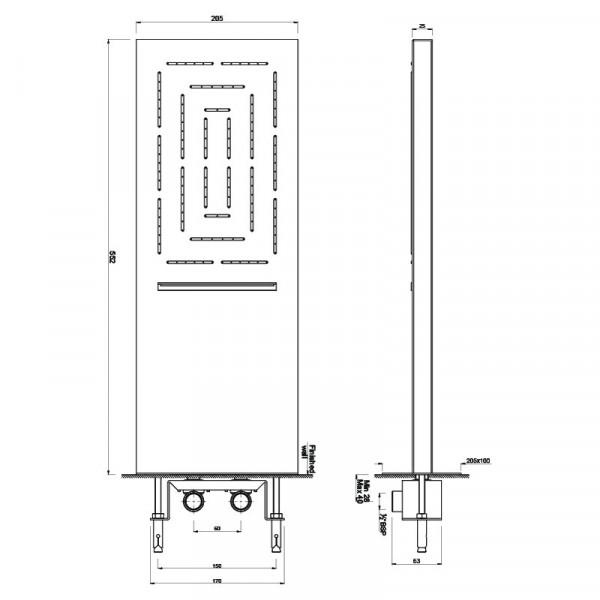 Верхний душ прямоугольный 550х200 мм на 2 положения Jaquar Maze OHS-CHR-1649