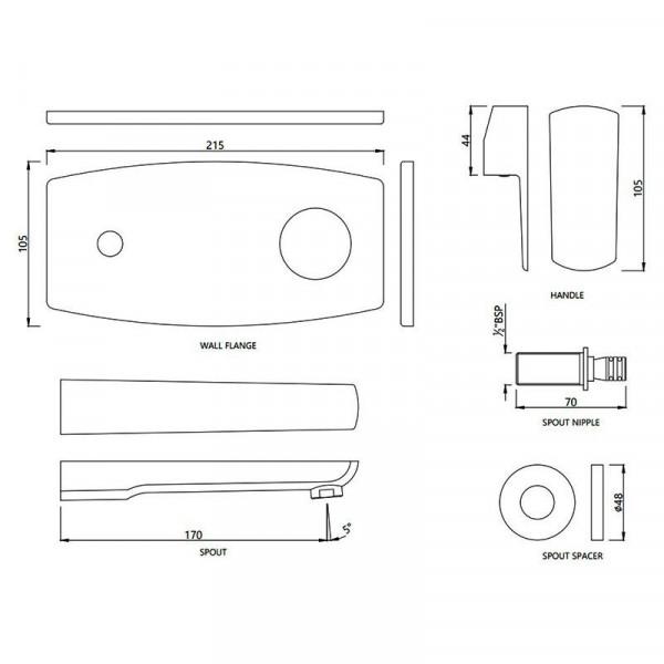Внешняя часть смесителя для раковины с изливом Jaquar Kubix Prime KUP-CHR-35233KPM