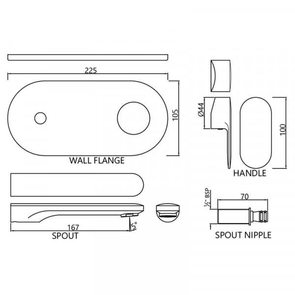 Внешняя часть смесителя для раковины с изливом Jaquar Opal Prime OPP-CHR-15233KPM