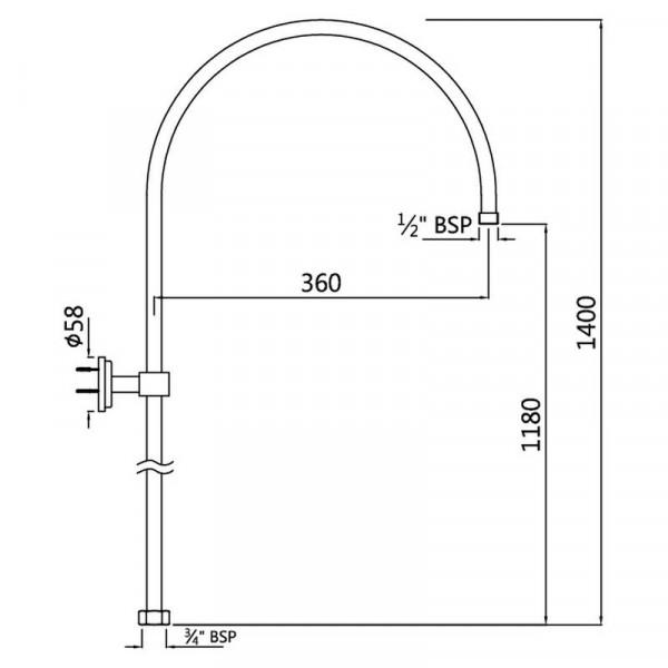 Внешняя душевая труба для смесителя Jaquar SHA-CHR-1211
