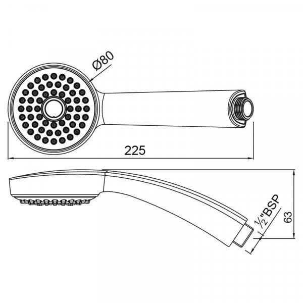 Ручной душ 80 мм 1 режим Jaquar HSH-CHR-1929
