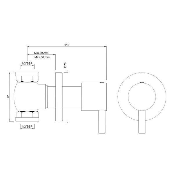 Запорный вентель скрытого монтажа 1/2 Jaquar Florentine FLR-CHR-5083N