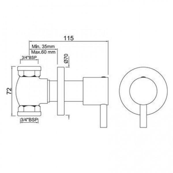 Запорный вентель скрытого монтажа 3/4 Jaquar Florentine FLR-CHR-5089N