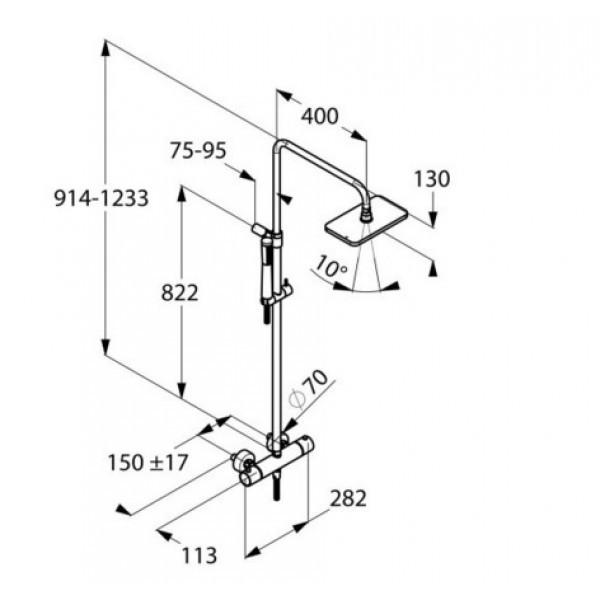 Душевая система c термостатом Kludi A-QA DUAL SHOWER SYSTEM 490950500