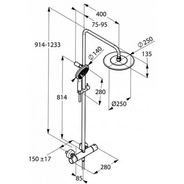 Душевая система с термостатом Kludi FRESHLINE DUAL SHOWER SYSTEM 670920500