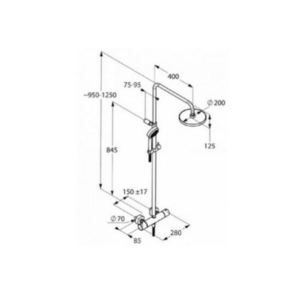 Душевая система с термостатом KLUDI LOGO DUAL SHOWER SYSTEM 680950500