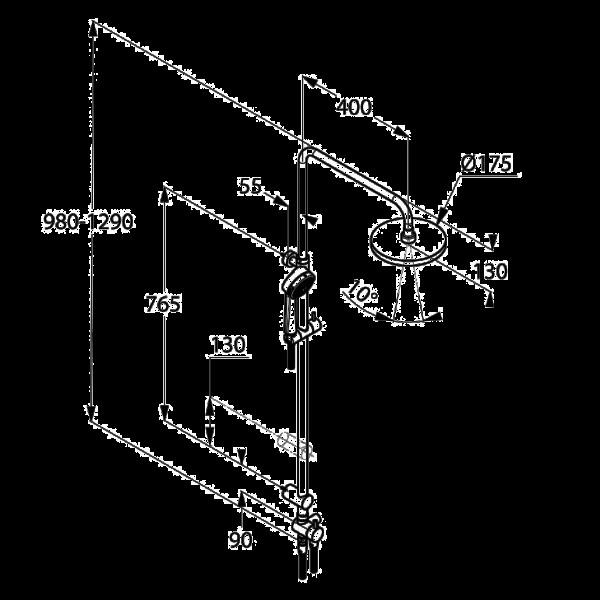 Душевой гарнитур с верхним душем Kludi A-QA DUAL SHOWER SYSTEM 660900500