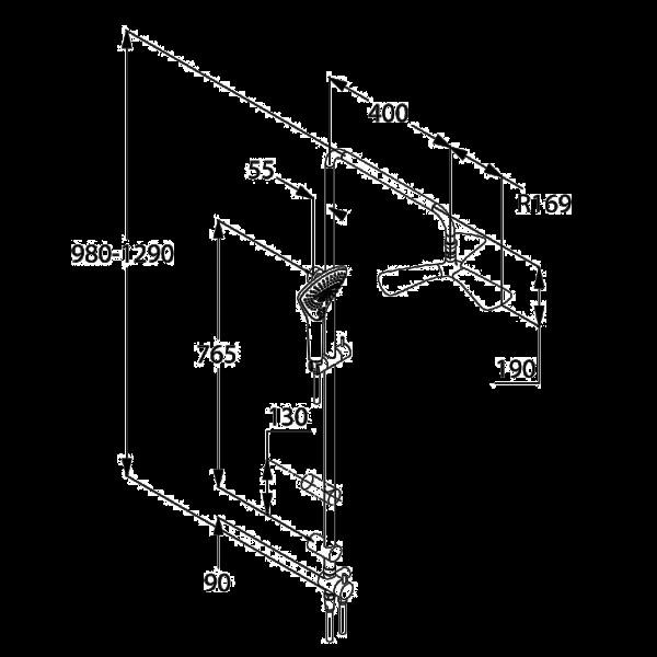 Душевой гарнитур с верхним душем Kludi FIZZ DUAL SHOWER SYSTEM 670930500