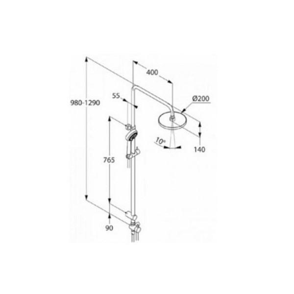Душевой гарнитур с верхним душем Kludi LOGO DUAL SHOWER SYSTEM 680910500
