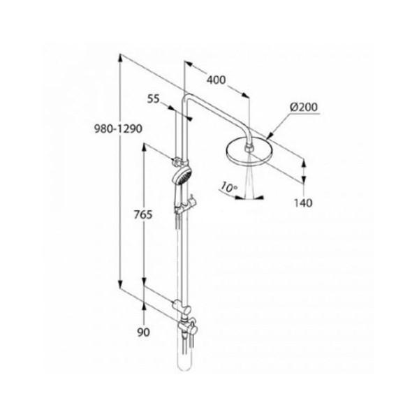 Душевой гарнитур с верхним душем Kludi LOGO DUAL SHOWER SYSTEM 680930500