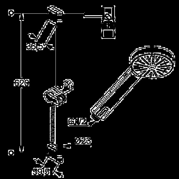 Душевой гарнитур со штангой 600 мм Kludi A-QA 656300500