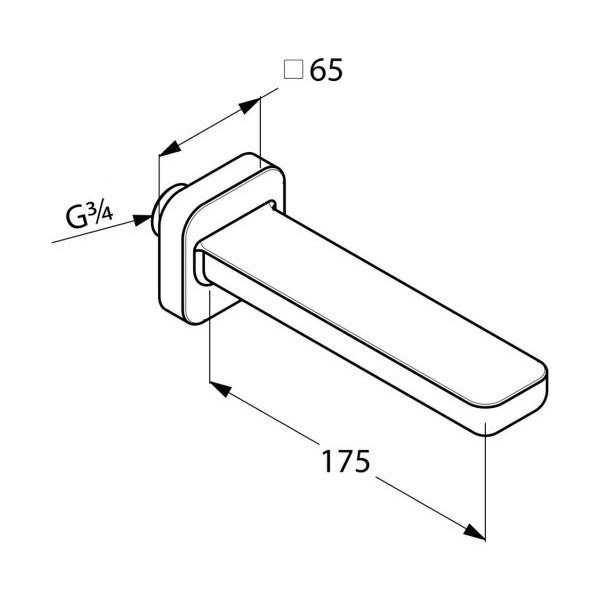 Излив для ванны скрытого монтажа длина 175 мм Kludi E2 4950305