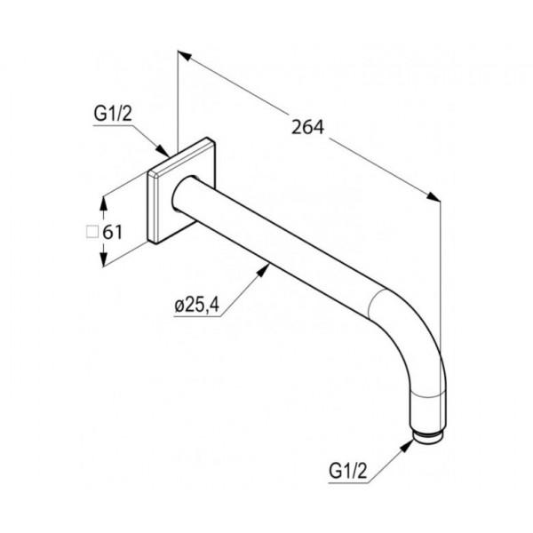 Кронштейн настенный 250 мм Kludi A-QA 665330500