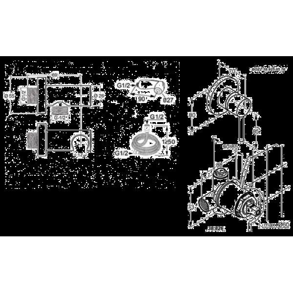 Набор скрытого монтажа с гигиенической лейкой Kludi Bozz 389990576
