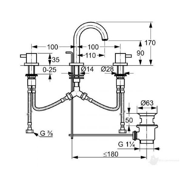 Смеситель для раковины на 3 отверстия Kludi Bozz 383930576