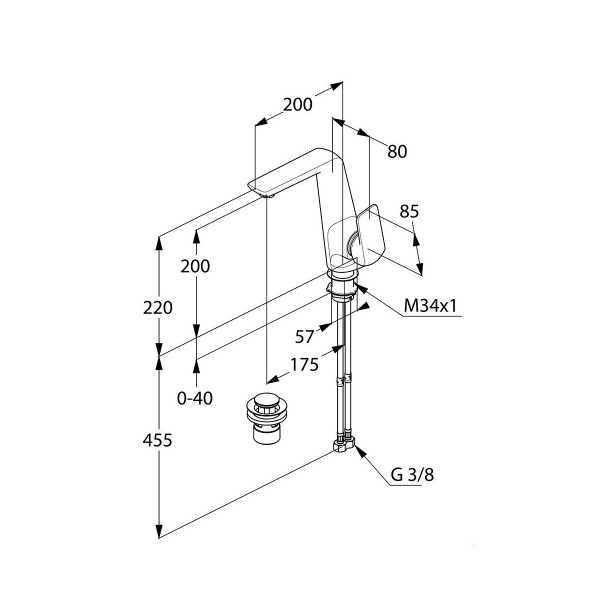 Смеситель для раковины с боковым управлением Kludi Ameo 410250575