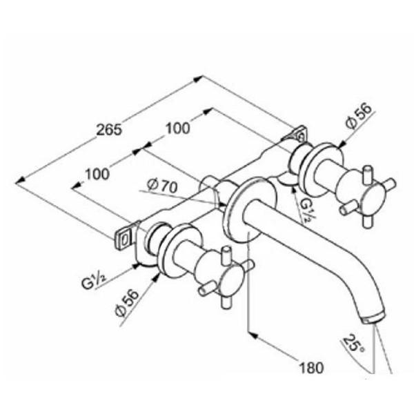 Смеситель для раковины скрытого монтажа излив 180 мм Kludi Bozz 381450520