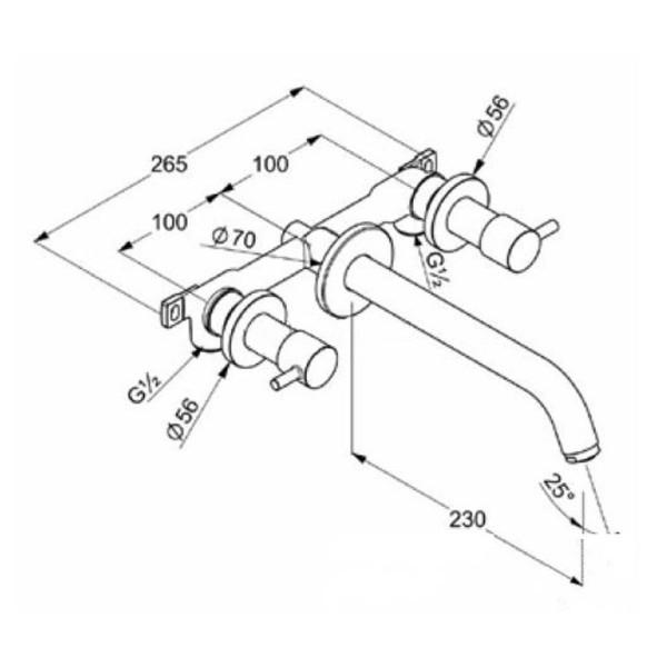 Смеситель для раковины скрытого монтажа излив 230 мм Kludi Bozz 381460576