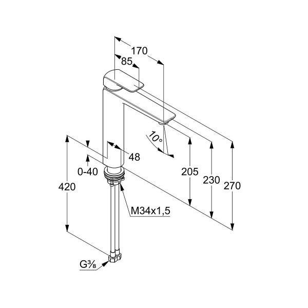 Смеситель для раковины высокий 205 мм Kludi Ameo 412960575