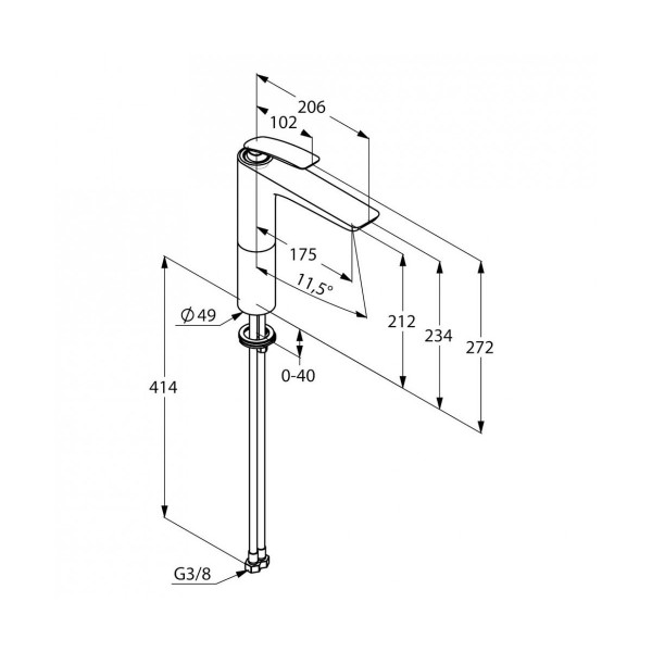 Смеситель для раковины высокий 213 мм Kludi Balance 522960575