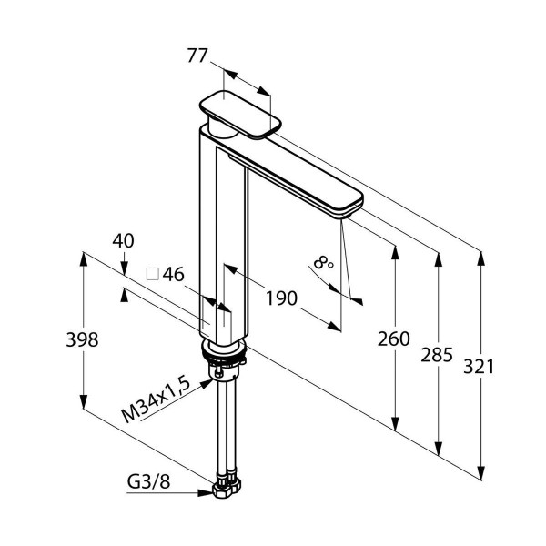 Смеситель для раковины высокий 260 мм Kludi E2 492980575