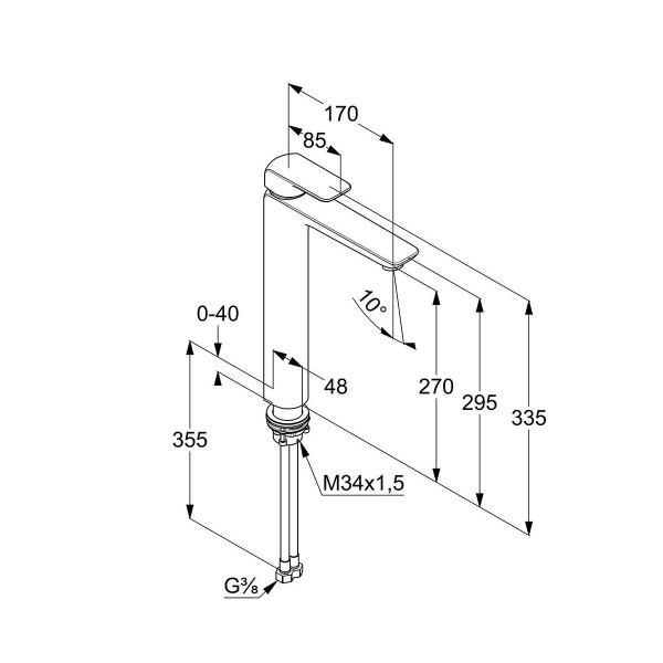 Смеситель для раковины высокий 270 мм Kludi Ameo 412980575
